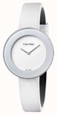 Calvin Klein Womans elegancki biały skórzany pasek z białą tarczą K7N23TK2