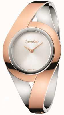 Calvin Klein Womans zmysłowy dwukolorowy bransoleta ze stali nierdzewnej srebrna tarcza m K8E2M1Z6