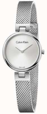 Calvin Klein Womans autentyczna siatka ze stali nierdzewnej srebrna tarcza K8G23126