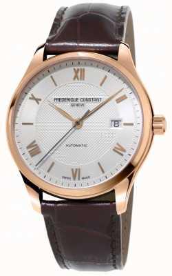 Frederique Constant Męski klasyka, indeks automatyczny brązowy skórzany pasek FC-303MV5B4