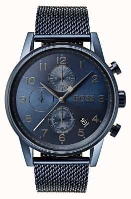 Hugo Boss Męski niebieski zegarek metalowy z chronografem 1513538