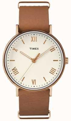 Timex Unisex southview 41mm krem wybierania złota róża przypadku TW2R28800