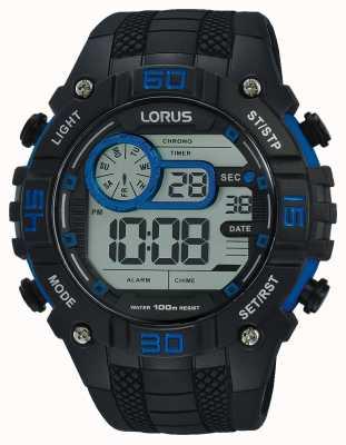 Lorus Męski zegarek cyfrowy czarny i niebieski R2353LX9
