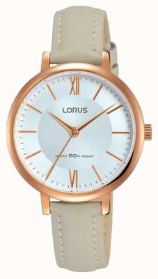 Lorus Womans sunray dial miękki szary skórzany pasek RG264LX7