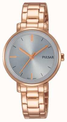 Pulsar Womans bransoleta ze stali nierdzewnej w kolorze różowego złota szara tarcza PH8362X1