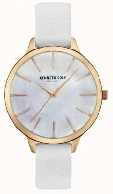 Kenneth Cole Womans biała skórzana pasek z tarczą z masy perłowej KC15056001