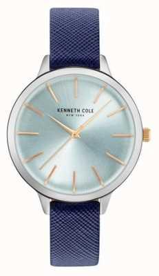 Kenneth Cole Womans niebieski skórzany pasek z tarczą z masy perłowej KC15056003