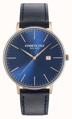 Kenneth Cole Męskie ciemnoniebieskie daty wybierania czarny skórzany pasek KC15059004
