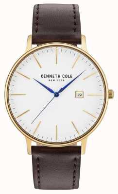 Kenneth Cole Męska biała tarcza z ciemnego brązu z datownikiem KC15059005