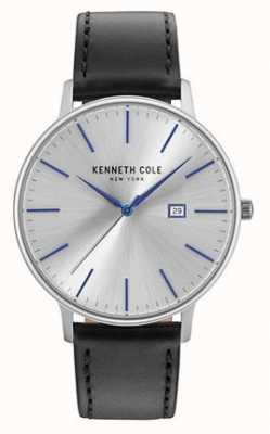 Kenneth Cole Męski ciemny srebrny datownik z czarnym skórzanym paskiem KC15059006