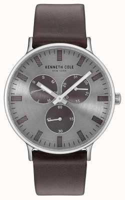 Kenneth Cole Męski, wielofunkcyjny, jasnoszary, ciemno-brązowy skórzany pasek wybierania KC14946001