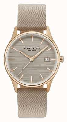 Kenneth Cole Womans brązowy skórzany pasek z brązowym tarczą KC15109003