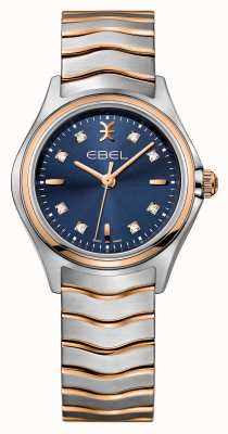 EBEL Damski damski zestaw diamentowy z dwukolorowym niebieską tarczą 1216379