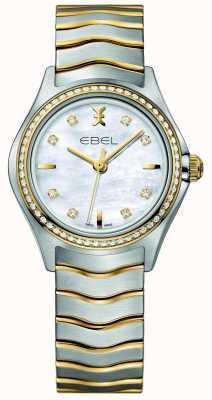 EBEL Damski, dwukolorowy, wysadzany diamentami zegarek Wave 1216351