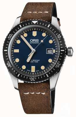 Oris Divers sześćdziesiąt pięć automatyczny brązowy skórzany pasek niebieska tarcza 01 733 7720 4055-07 5 21 02