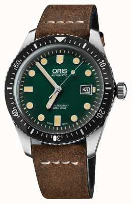 Oris Divers sześćdziesiąt pięć automatyczny brązowy skórzany pasek zielony wybierania 01 733 7720 4057-07 5 21 02