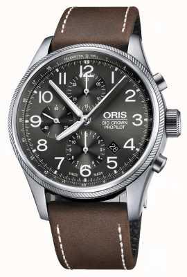 Oris Big crown propilot automatyczny chronograf brązowy skórzany pasek 01 774 7699 4063-07 5 22 05FC