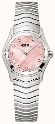 EBEL Damski klasyczny zestaw 12 diamentów z różową tarczą ze stali nierdzewnej 1216279