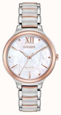 Citizen Damski l dwukolorowy zegarek z różowego złota EM0556-87D