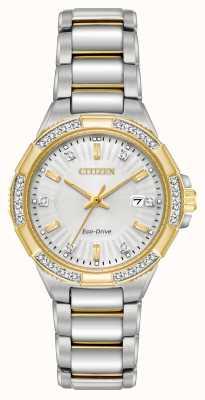Citizen Damski riva diamentowy dwukolorowy zegarek ze stali nierdzewnej EW2464-55A
