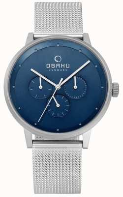 Obaku Mens venlig cyan steel mesh watch V208GMCLMC