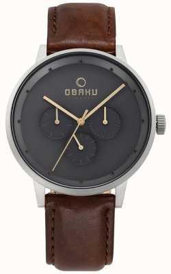 Obaku Męski brązowy skórzany zegarek V208GMCJRN