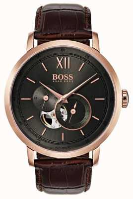 Boss Męski zegarek automatyczny z brązowej skóry 1513506