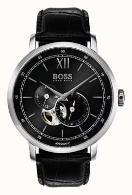 Hugo Boss Męski automatyczny zegarek z czarnej skóry 1513504