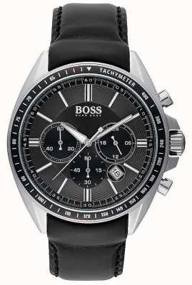 Hugo Boss Męski skórzany zegarek chronograf z czarnej skóry 1513085