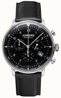 Junkers Męski czarny skórzany pasek chronografu Bauhaus 6086-2