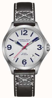 Hamilton Khaki air race 38mm czarna skóra H76225751