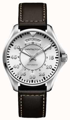 Hamilton Pilotażowa data auto brązowa skóra H64615555