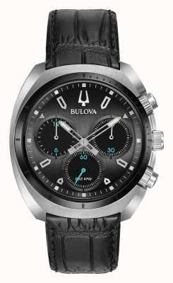 Bulova | curv | męskie | chronograf | czarny skórzany pasek | 98A155