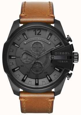 Diesel Męski mega naczelny zegarek z czarnym, brązowym skórzanym paskiem DZ4463