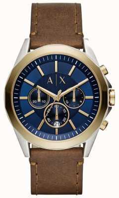 Armani Exchange Męski niebieski skórzany pasek chronografu AX2612
