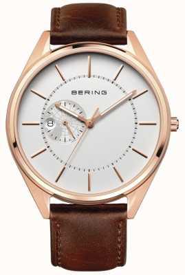 Bering Męski, automatyczny brązowy skórzany pasek 16243-564