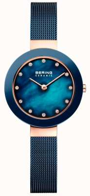 Bering Womans ceramiczny niebieski pasek w stylu milanese 11429-367