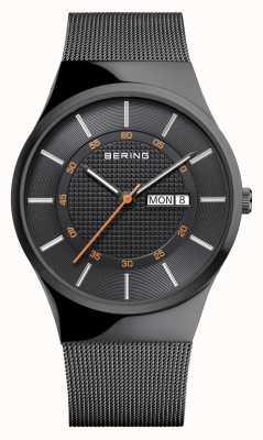 Bering Męska klasyczna czarna siatkowa bransoletka 12939-222