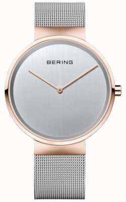 Bering Unisex klasyczny, srebrny, milanese pasek z różowym złotym etui 14539-060