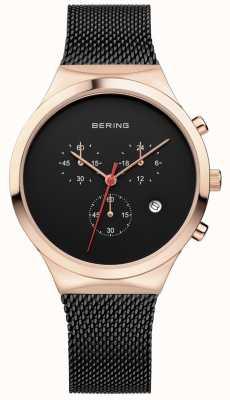 Bering Męski czarny czarny chronograf chronograf czarny pasek 14736-166