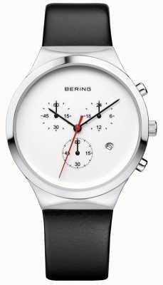 Bering Męski klasyczny biały skórzany pasek chronografu 14736-404