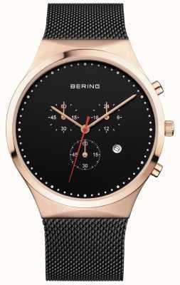 Bering Męski czarny czarny chronograf chronograf czarny pasek 14740-166