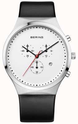 Bering Męski klasyczny biały skórzany pasek chronografu 14740-404