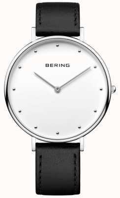 Bering Unisex klasyczny czarny skórzany pasek 14839-404