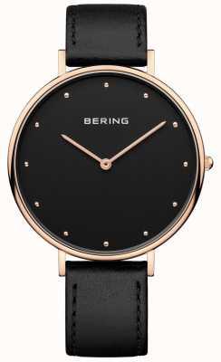 Bering Womans klasyczny czarny skórzany pasek zegarka 14839-462