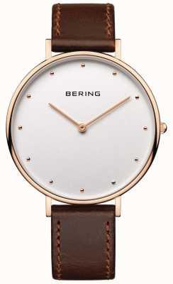 Bering Womans klasyczny brązowy skórzany pasek zegarka 14839-564