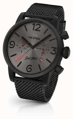 TW Steel Męski syn czasu eon 48mm chrono czarna siateczka i skóra MST4