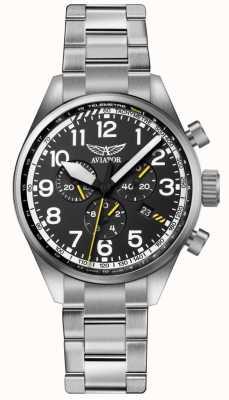 Aviator Męskie airacobra p45 chrono bransoleta ze stali szlachetnej czarny dia V.2.25.0.169.5