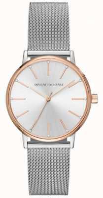 Armani Exchange Womans siatka ze stali nierdzewnej sukienka sukienka zegarek AX5537