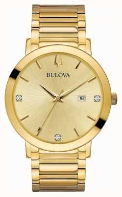 Bulova Męski zegarek z diamentem w kolorze złota 97D115